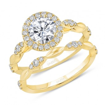 Uneek Round Diamond Halo Engagement Ring and Matching Wedding Band, with Navette-Shaped Cluster Accents, in 14K Yellow Gold