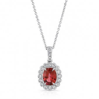 Uneek Oval Ruby Pendant with Scallop-Style Diamond Halo, 18K White Gold