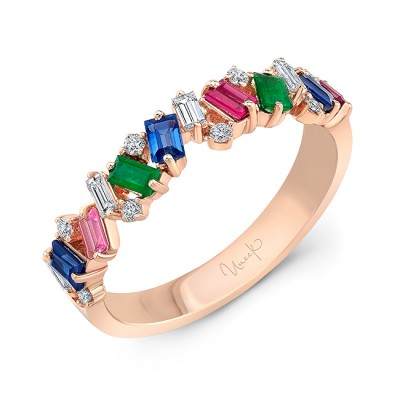 Uneek Emerald, Ruby and Blue Sapphire Fashion Ring, in 18K Rose Gold
