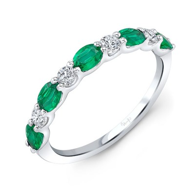 Uneek Emerald and Diamond Fashion Ring, in 18K White Gold