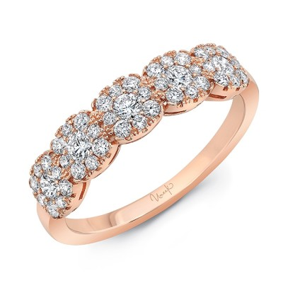 Uneek Diamond Band with Cushion-Shaped Clusters, 18K Rose Gold