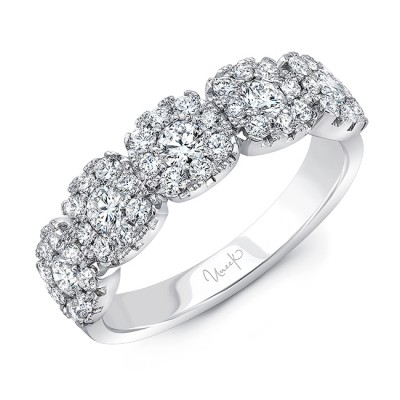 Uneek Diamond Anniversary Band with Cushion-Shaped Halos, 18K White Gold