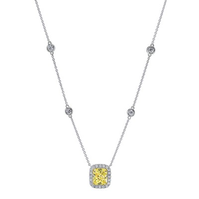 Uneek Cushion Diamond Pendant, in 18K White Gold