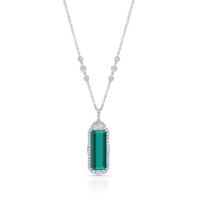 Uneek Emerald Cut Green Tourmaline Diamond Pendant, in 18K White Gold - LVN938GT