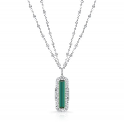 "Uneek ""The Empress"" Emerald Cut Green Tourmaline Diamond Pendant, in 18K White Gold - LVN689TML"
