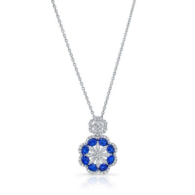 Uneek Blue Sapphire and Diamond Pendant, in 18K White Gold