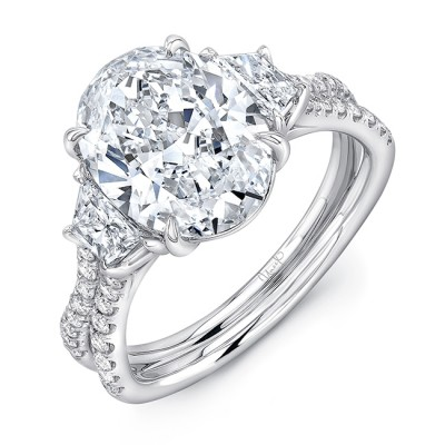 """Oval-Center Classic Three-Stone Engagement Ring with Pave """"Silhouette"""" Shank from Uneek"""