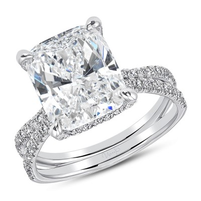 """Uneek """"Le Pur et Simple"""" French-Pave Diamond Engagement Ring, in 18k White Gold - LVS1050CU"""