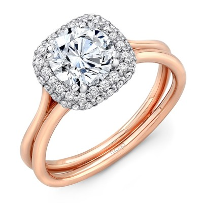"""Round Diamond Two-Tone Engagement Ring with Cushion-Shaped Bombay Halo and """"Silhouette"""" Double Shank from Uneek"""