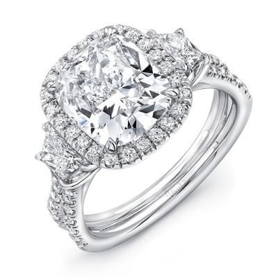 Uneek LVS983CU Three-Stone Engagement Ring with 3-Carat Cushion-Cut Center on Halo and Pave Double Shank