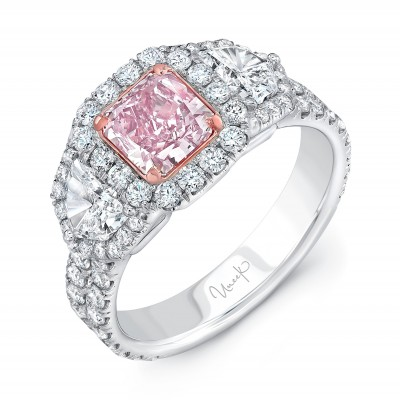 Uneek Three-Stone Engagement Ring with Radiant-Cut Pink Diamond Center and Pave Double Shank, in 18K White and Rose Gold