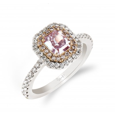 Uneek Radiant Pink Diamond Engagement Ring, in 18K White Gold