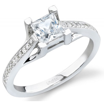 Uneek 18K White Gold Princess-Cut Diamond Engagement Ring SW121