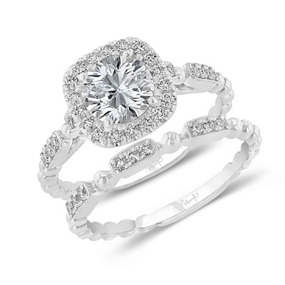 Uneek Round Diamond Halo Engagement Ring and Matching Wedding Band, with High Polish Bead Accents and Milgrain-Trimmed Pave Bars, White Gold