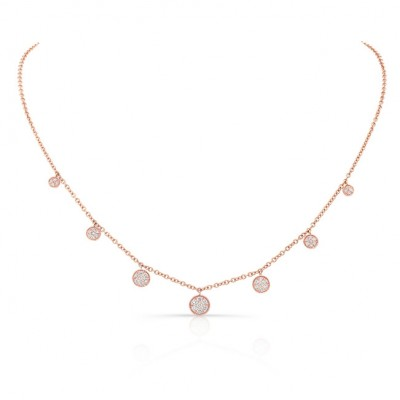 Uneek Seven-Cluster Dangle Necklace, 18K Rose Gold