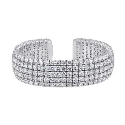 Uneek 5-Row Round Diamond Open Cuff Bracelet in 18K White Gold