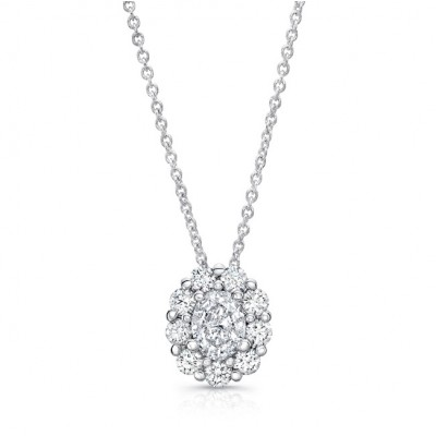 Uneek Oval Diamond Pendant with Scallop-Inspired Shared Prong Round Diamond Halo, 18K White Gold