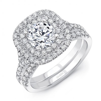 "Uneek Round Diamond Engagement Ring with Cushion-Shaped Double Halo, Filigree Detail and ""Surprise"" Diamonds, in 14K White Gold, with Matching Wedding Band"
