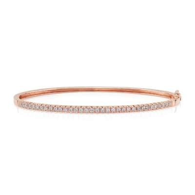 "Uneek ""Holloway"" Stackable Diamond Bangle, Rose Gold version"