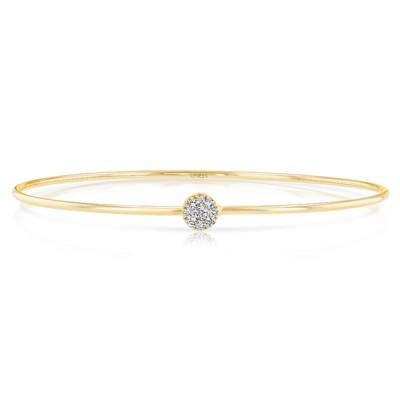 "Uneek ""Durant"" Skinny Bangle with Round Diamond Cluster Accent, Yellow Gold"