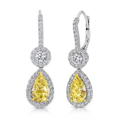Uneek Pear-Shaped Fancy Yellow Diamond Dangle Earrings with Accent Round Diamonds, 18K Gold