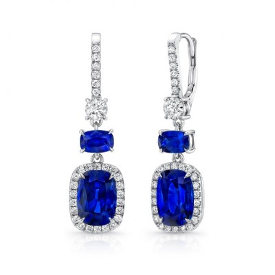 Uneek Cushion-Cut Blue Sapphire Dangle Earrings with Smaller Sapphire Accents