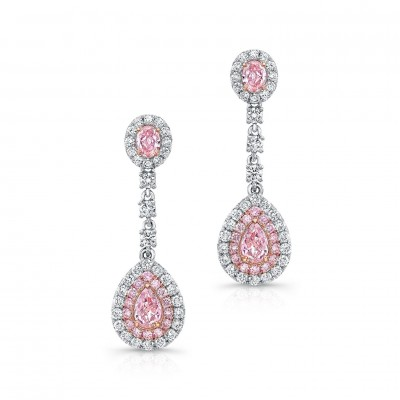 Uneek Pear-Shaped Pink Diamond Drop Earrings with Two-Tone Double Halos and Oval Pink Accents, 18K Gold