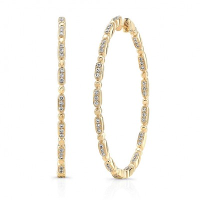 "Uneek ""Rodeo"" Inside-Out Diamond Hoop Earrings, Yellow Gold version"