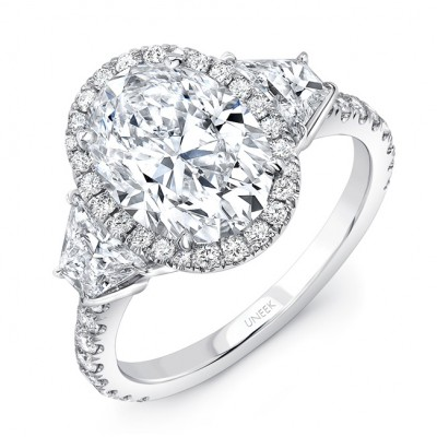 uneek threestone engagement ring with 3carat oval center on halo in platinum