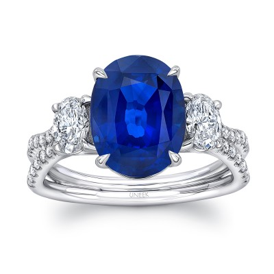 "Uneek Sapphire-and-Diamond Three-Stone Engagement Ring with Oval Blue Sapphire Center, Oval Diamond Sides, and Pave ""Silhouette"" Double Shank"