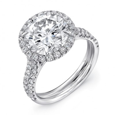 Uneek LVS941 Round Diamond Engagement Ring with Pave Double Shank