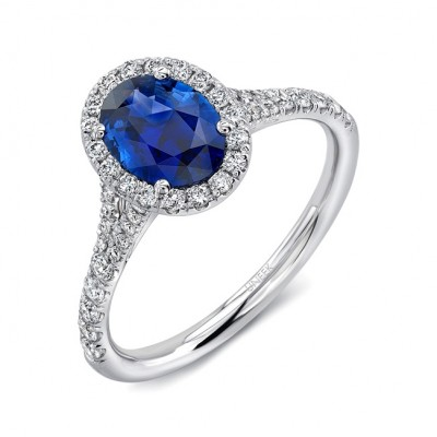 Uneek Petite Oval Blue Sapphire Ring with Diamond Halo and Split Upper Shan