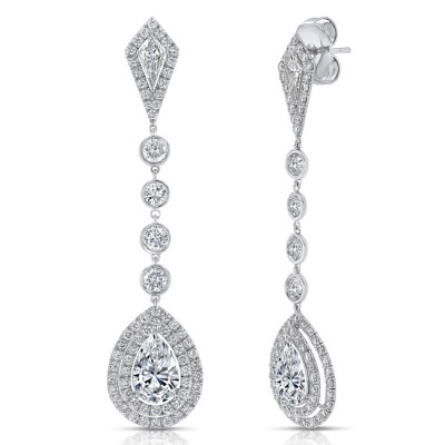 Uneek Pear-Shaped Diamond Drop Earrings with Teardrop-Shaped Double Halos and Kite-Shaped Accent Diamonds, 18K White Gold