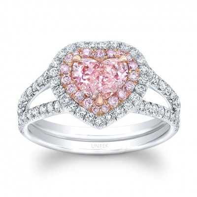 Uneek Heart-Shaped Fancy Orange Pink Diamond Ring with Peekaboo Split Upper Shank and Double Halo, Platinum and 18K Rose Gold