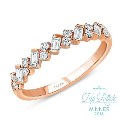 "Uneek ""Sweetzer"" Baguette and Round Diamond Stacking Ring, in 14K Yellow Gold"