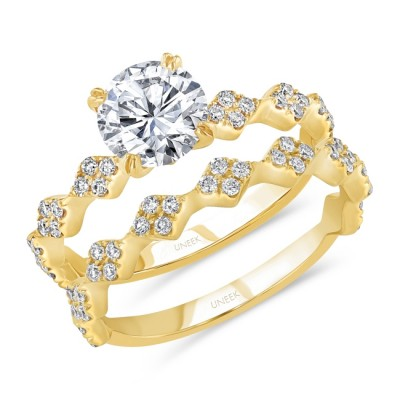 Uneek Round Diamond Bridal Set with Diamond-Shaped Cluster Accents, 14K Yellow Gold