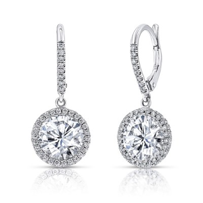 Uneek Round Diamond Drop Earrings with Halos, 18K White Gold