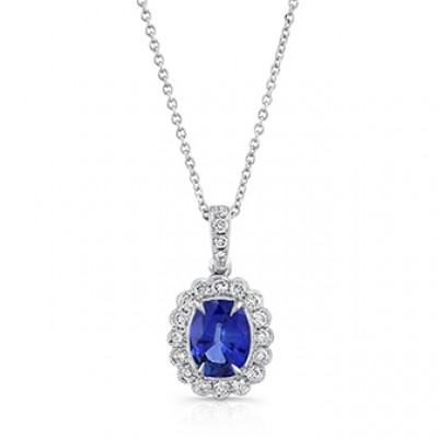 Uneek oval blue sapphire pendant with scallop style diamond halo in uneek oval blue sapphire pendant with scallop style diamond halo in 18k white gold aloadofball Image collections