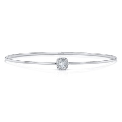 "Uneek ""Linden"" Skinny Bangle with Emerald-Shaped Diamond Cluster and Halo Accent, White Gold"
