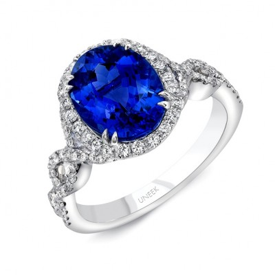 Uneek Oval Blue Sapphire Halo Engagement Ring with Ribbon-Style Crisscross Upper Shank