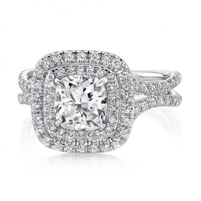 Uneek Split Shank Radiant Halo Diamond Engagement Ring LVS914