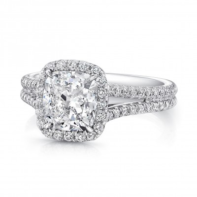 Uneek Split Shank Radiant Halo Diamond Engagement Ring LVS915
