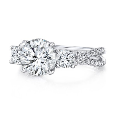"Uneek Round Diamond Three-Stone Engagement Ring with Pave ""Silhouette"" Double Shank"