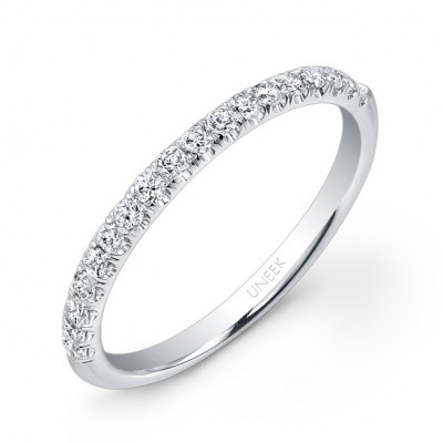 Uneek 18 Diamond Micropave Wedding Band In 14K White Gold