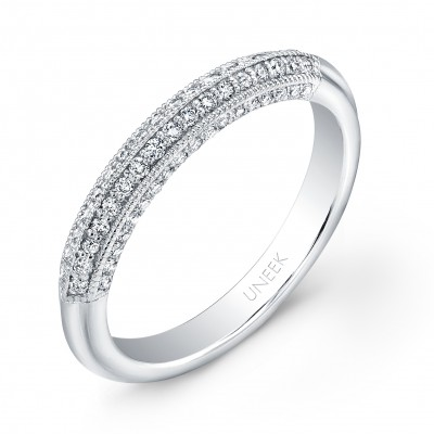 Uneek 4-Sided Micropave Diamond White Gold Wedding Band