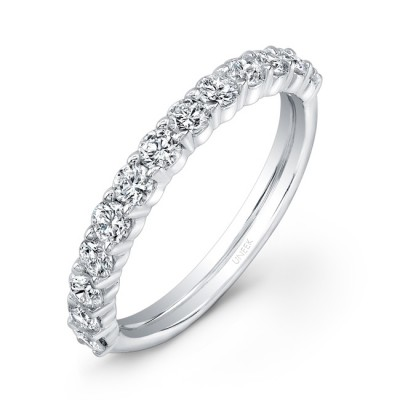 uneek 13 diamond shared prong wedding band with scalloped edges