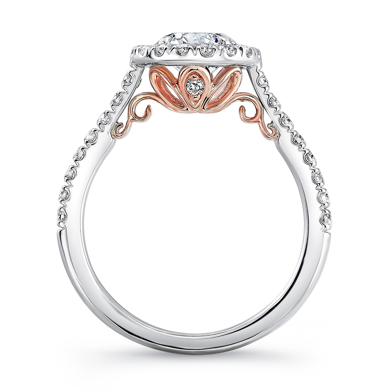"Uneek ""Fiorire"" Oval Diamond Halo Engagement Ring with Pave Shank"