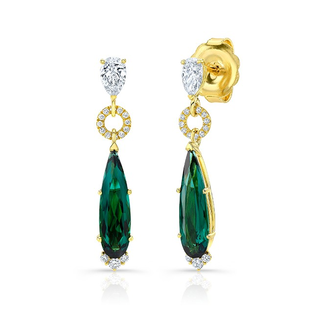 Uneek Indicolite Tourmaline Earring in 18K Yellow Gold - ER002INTOURU