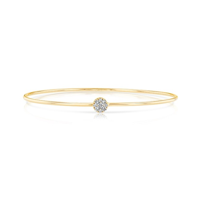 "Uneek ""Durant"" Skinny Bangle with Round Diamond Cluster Accent, Rose Gold"
