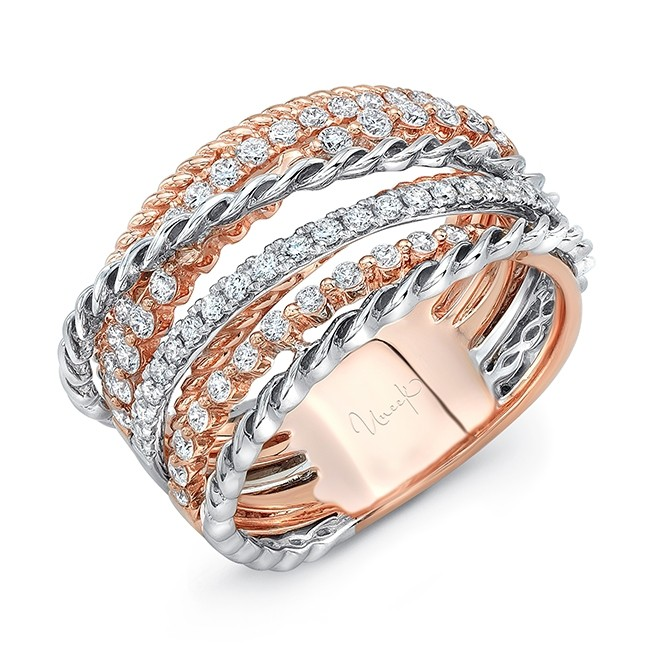 """Uneek """"Teneriffe IV"""" Crossover-Style Stack-Illusion Diamond Band, in 14K Two-Tone Gold"""